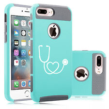 For iPhone 6 6s 7 Plus Dual Shockproof Hard Case Cover Heart Stethoscope Nurse