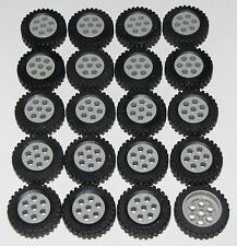 LEGO LOT OF 20 LIGHT GREY Wheels 30mm D. x 13mm TIRES CAR TRUCK CITY TOWN PARTS