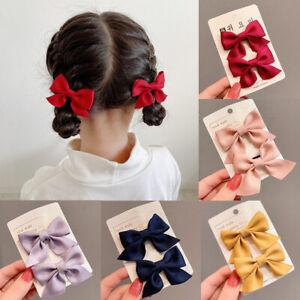2Pcs Girls Cute Bow Hairpins Kids Sweet Hair Clips Barrettes Hair Accessories