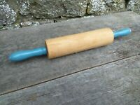 Vintage c1950's Wooden Rolling Pin - Blue Handles