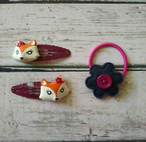 Gymboree Fashionable Fox felt flower ponytail holder & fox hair clips SO CUTE!