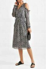 BNWT Michael Kors LEOPARD Print Cold Shoulder Dress SMALL UK 8, 10 New BLACK