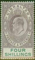Gibraltar 1903 4s Dull Purple & Green SG53 Fine & Fresh Lightly Mtd Mint (8)