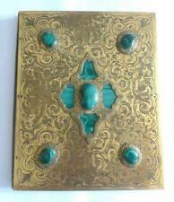 SUPERB Antique 19th Century Engraved Brass / Malachite Document Holder- Russian?