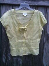 ANN TAYLOR LOFT Womens 100% Linen Button Down Dress Shirt Lime Green Yellow M 10