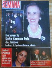 MUERTE DE CARMEN POLO DE FRANCO Semana 1988 portada & interior