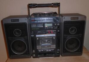 Vintage Hitachi Model # TRK-9150W  Boombox radio cassette recorder