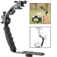 L Shaped Flash Bracket DSLR Camera Holder Dual Hotshoe Mount Soft Grip Video Mic