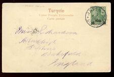 Alemania Levant Imperio Otomano Jaffa oficina de correos 10pa/5pf 1904 PPC a Reino Unido