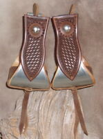 "US Made Custom 4"" Bell Stirrups, For Saddle, Dark Basket Weave Tooling! G&E"