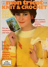 Mon Tricot MD 86 Knit Crochet Patterns T Shirts Twin Sets Dress Sailboat 1981