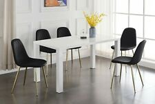 PIVERO White Grey High Gloss Chrome Dining Table Set & 6 Leather Chairs Seater