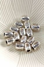 Lot of 10 Tibetan Silver Antique Silver 7mm Spiral Barrel Spacer Beads Hole 2.5