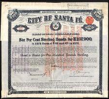 ARGENTINA: Città di Santa Fe, 6% PRESTITO, 1889, £ 100 Bond