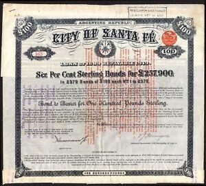 Argentina: City of Santa Fe, 6% Loan, 1889, £100 bond