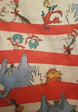 Dr Seuss cat in the hat comic children's cartoon retro fabric remnant 40 x 108cm