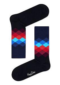 Happy Socks Délavé Diamant FD01-069 Noir Bleu Et Rouge M/L - Ue 41-46
