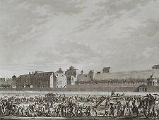 Gravure Originale XVIIIème - Mort de Bailly - Guillotine - 1793 - Bertaux