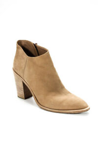 Vince Womens Suede Pointed Toe High Heel Ankle Boots Beige Size 38.5 8.5