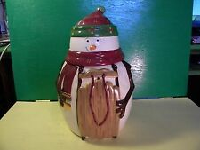 Snowman Holding Snow Sled Cookie Jar Hand Painted for Nonni's