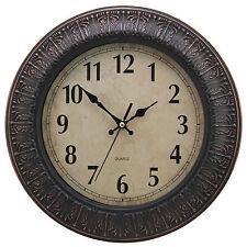 Dark Brown 30cm Round Motif Rustic Wall Clock