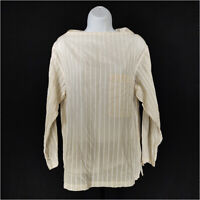 Theory Tunic Top Tan White Women's Petite Long Sleeve Cotton Striped Pocket