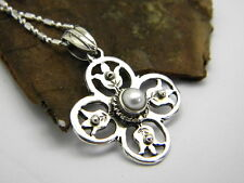 Sterling Silver Pearl Cross Pendant Necklace floral victorian style round cross