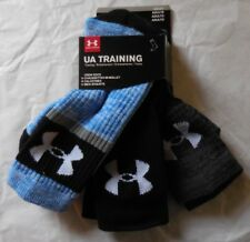 Under Armour Men's Training Crew Socks 3 Pack Black/Gray/Blue Size L 9-12.5 New