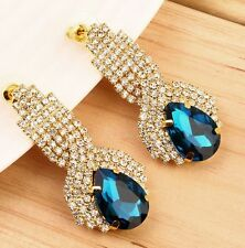STUNNING CRYSTAL RHINESTONE STUD EARRINGS – 1-7/8 INCHES