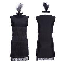 1920 20er Jahre Charleston Kostüm Kleid Flapper Fransen Partykleid Kopfschmuck