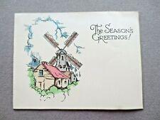 Vintage CHRISTMAS Card 1930s Art Deco Windmill & Cottage  A M Davis