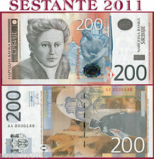 SERBIA  -  200 DINARA 2011 -   P 58a -   Prefix AA -  Low number  - FDS / UNC