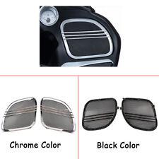 Tri-Line Speaker Grills Cover Trim Chrome/Black For Harley Road Glide 2015-2018