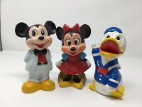 Vtg Donald Duck Minnie Mickie Coin Piggy Bank Figure Walt Disney Co Collectible