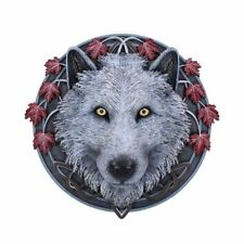 More details for nemesis now lisa parker guardian of the fall white autumn wolf wall plaque 29cm