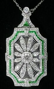 Art Deco 5.0ct white cz and emerald pendant necklace solid 925 sterling silver