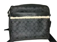 Coach Black & Gray 'Charles' Messenger Camera Sherpa Trim Bag Size Large $388