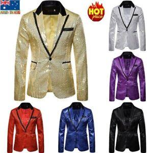 Mens Sequins Tuxedo Suit Coat Blazer One Button Party Cocktail Gentleman Jacket
