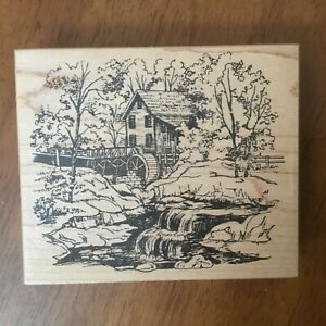 Northwoods Grist Mill Babbling Brook Country Scene Wood Mounted Rubber Stamp
