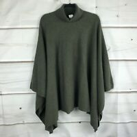 Soft by NAADAM Womens 100% Cashmere Turtleneck Poncho Knit Green Missy One Size