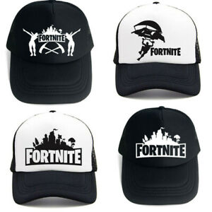 Fortnite Baseball Net Cap Wide Brim Hip-hop Style Kids Black White Size 60CM