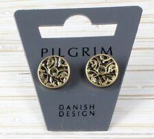 PILGRIM Stud Earrings Gold GRANDEUR Brown Watercolour Enamel & Swarovski BNWT