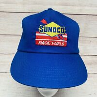 Sunoco Race Fuels Vintage Trucker Racing Hat Cap Snapback Blue EUC Made In USA