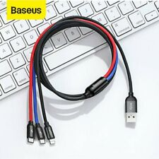 Baseus USB to iPhone Type C Micro USB 3 in 1 Charger Cable Charging Lead 1.2m