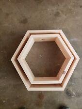 Set Of 8 Floating Hexagon Shelves