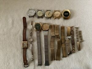 Wristwatches Lot Of (9) For Parts Or Repair. Timex, Waltham, LA marque