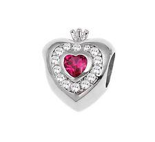Princess Heart Charm European Bead w/ Clear & Ruby CZ Cubic Zirconia