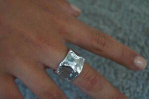 "NEW Men Women Uno De 50 Stamped Silver ""ROUGH"" Statement Ring 7.5 L"
