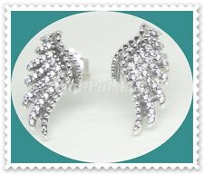 Authentic Pandora MAJESTIC FEATHER Stud Earrings Angel Wings #290581CZ S925 ALE