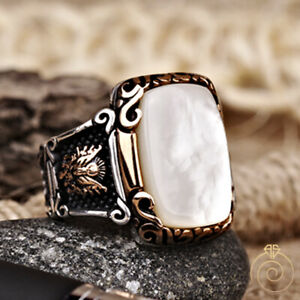 Rectangle Men Pearl Occult Statement Ring Silver Natural White Stone Custom Band